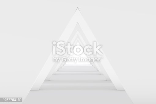 istock 3D White Empty Room, Tunnel Interior 1077750152