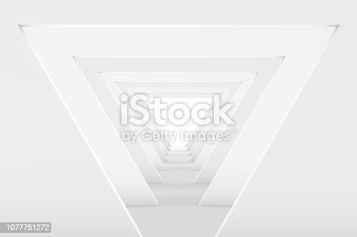istock 3D White Empty Room, Tunnel Interior 1077751272