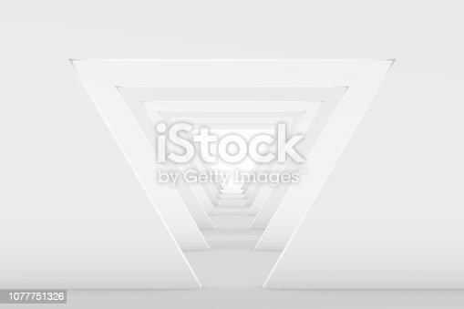 istock 3D White Empty Room, Tunnel Interior 1077751326