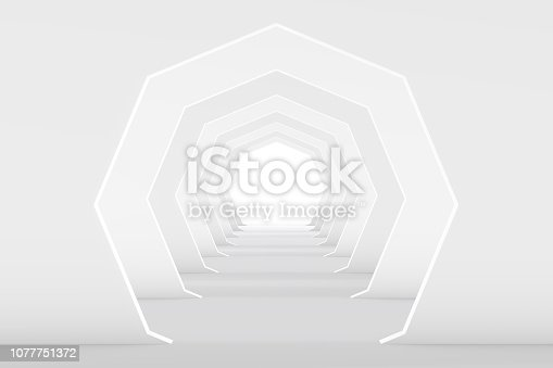 istock 3D White Empty Room, Tunnel Interior 1077751372