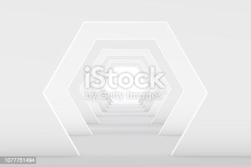 istock 3D White Empty Room, Tunnel Interior 1077751494