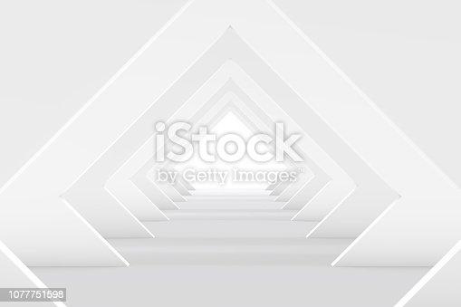 470731180istockphoto 3D White Empty Room, Tunnel Interior 1077751598