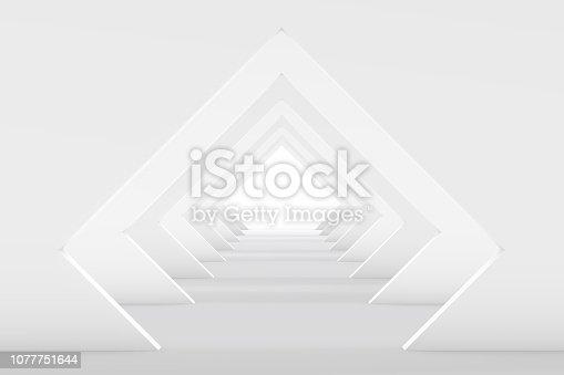 istock 3D White Empty Room, Tunnel Interior 1077751644