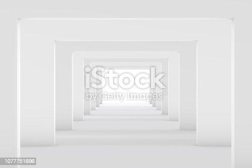 istock 3D White Empty Room, Tunnel Interior 1077751696
