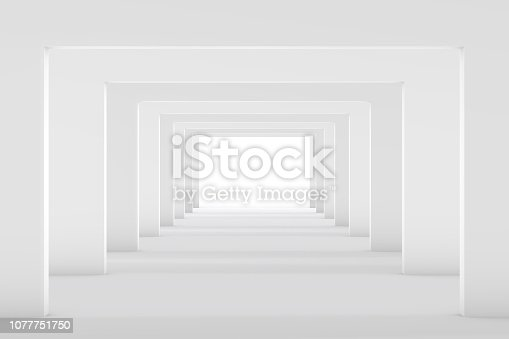 istock 3D White Empty Room, Tunnel Interior 1077751750