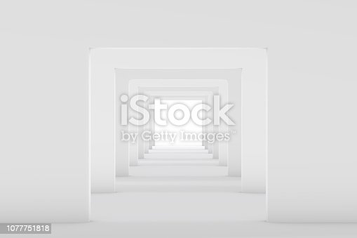694008266istockphoto 3D White Empty Room, Tunnel Interior 1077751818