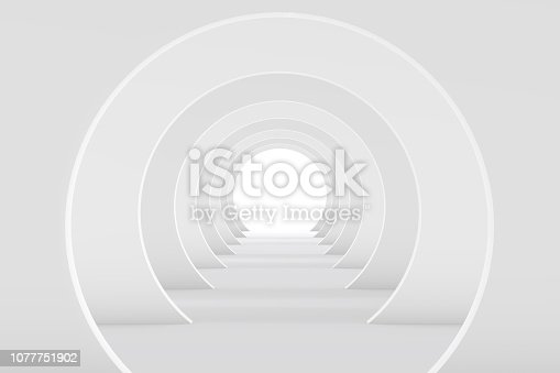 694008266istockphoto 3D White Empty Room, Tunnel Interior 1077751902
