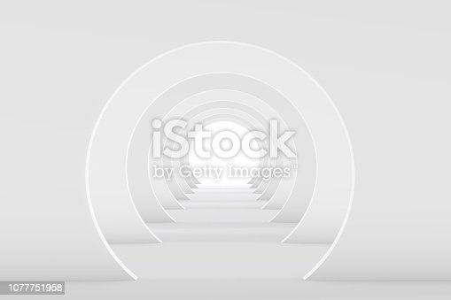 694008266istockphoto 3D White Empty Room, Tunnel Interior 1077751958