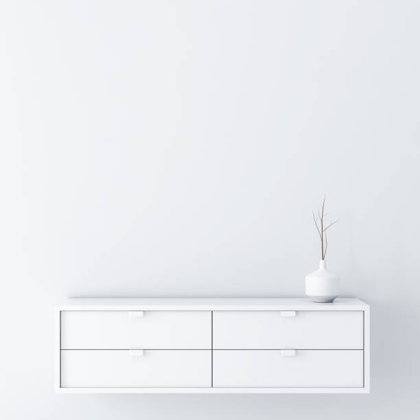 White empty room wall Mockup with console and vase decor stock photo