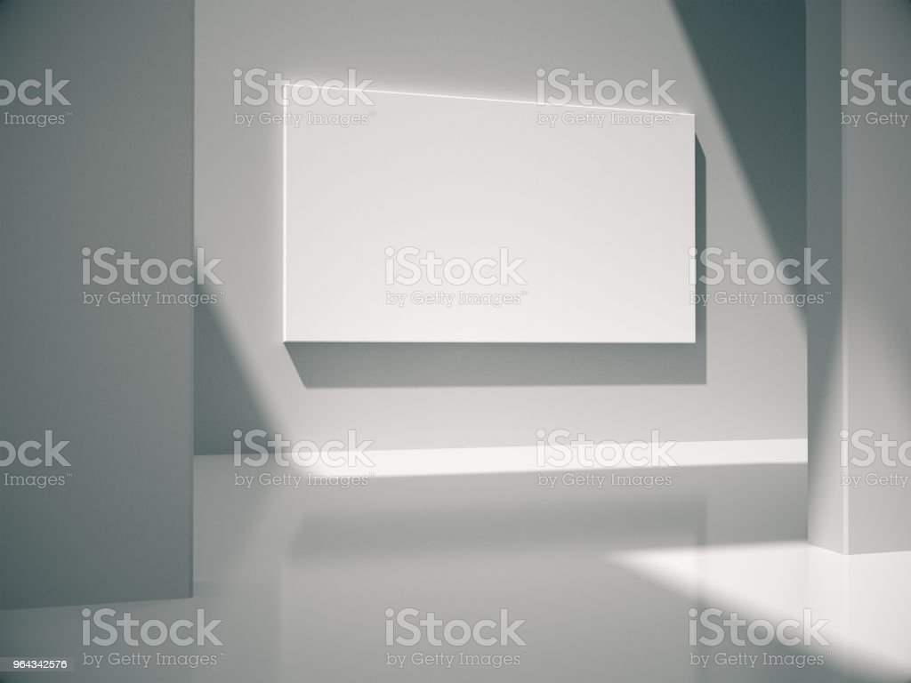 White empty room with empty frame.3D rendering. stock photo