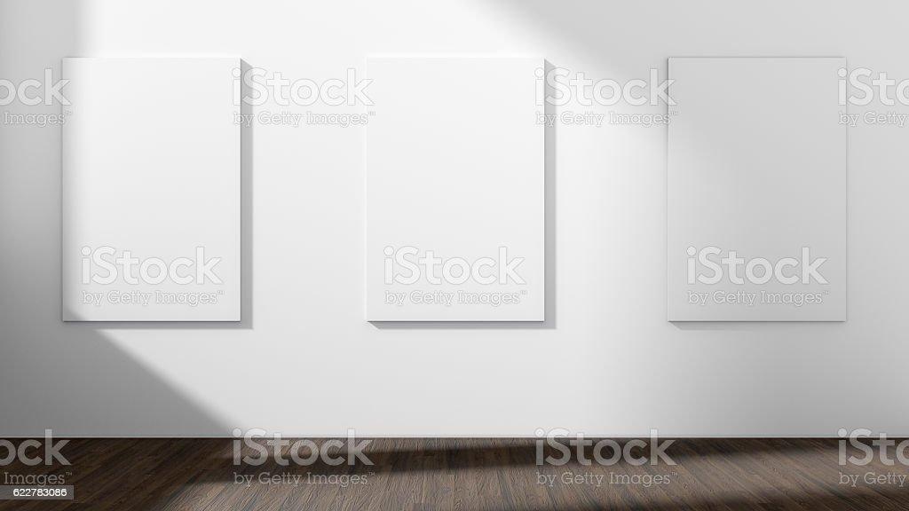 Weißer leerer Raum mit leerem Drei-Rahmen.3D Rendering. - Lizenzfrei Kunstmuseum Stock-Foto