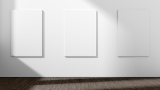 White empty room with empty three frame.3D rendering.