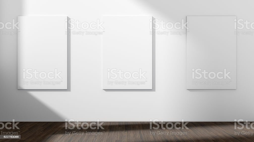 White empty room with empty three frame.3D rendering. vector art illustration