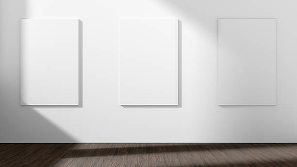 White empty room with empty three frame.3D rendering. stock photo