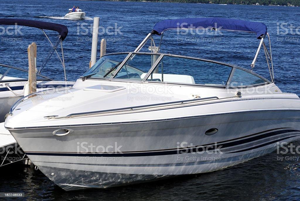 White empty small boat on lake royalty-free stock photo