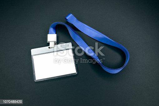 istock White empty staff identity mockup with blue lanyard 1070485420
