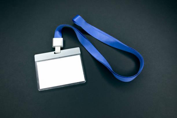 Weiße leere Personal Identität Mockup mit blauen Schlüsselband – Foto