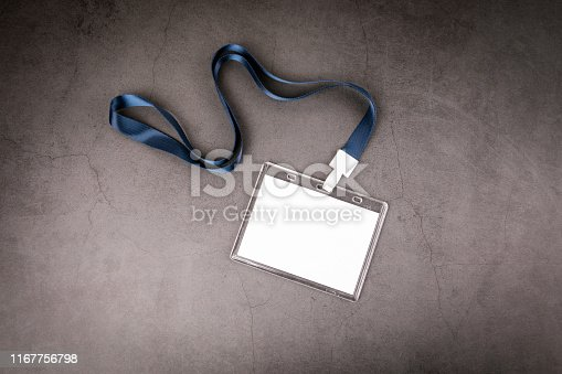 1049305186 istock photo White empty staff identity mockup with blue lanyard 1167756798