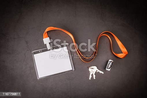 1049305186 istock photo White empty staff identity mockup with lanyard 1167756811