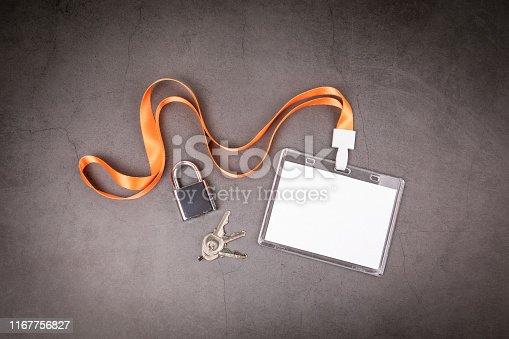 1049305186 istock photo White empty staff identity mockup with lanyard 1167756827