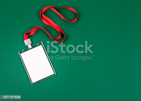 1049305186istockphoto White empty staff identity mockup with red lanyard 1027157526