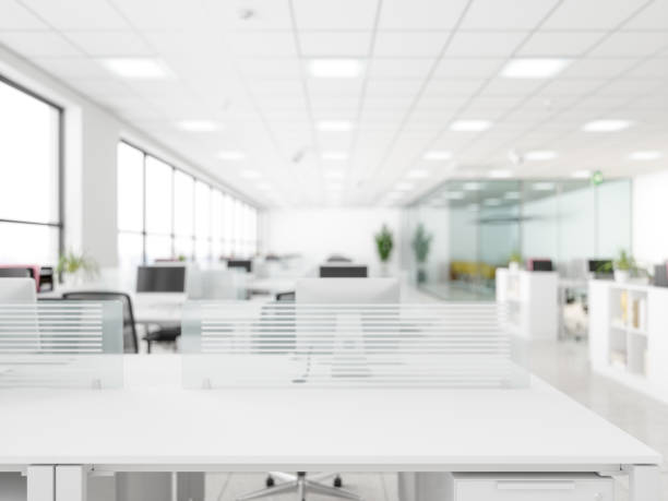 white empty surface and office building as background - office background imagens e fotografias de stock