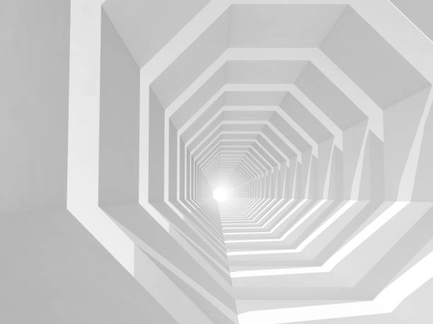 White empty tunnel perspective, 3d illustration stock photo