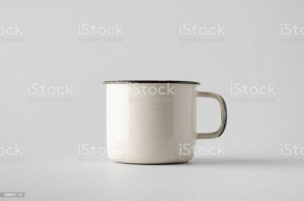 White Enamel Mug Mock-Up stock photo