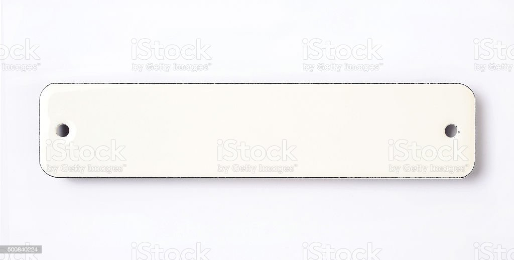 white enamel sign stock photo
