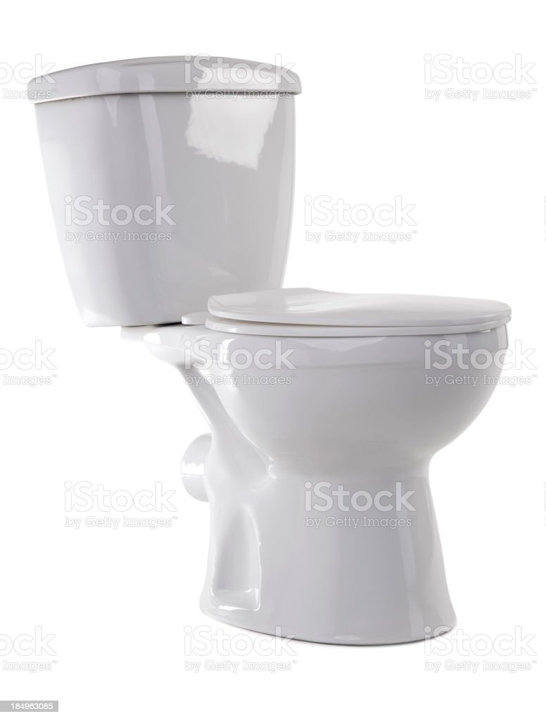 White enamel toilet on a white background stock photo
