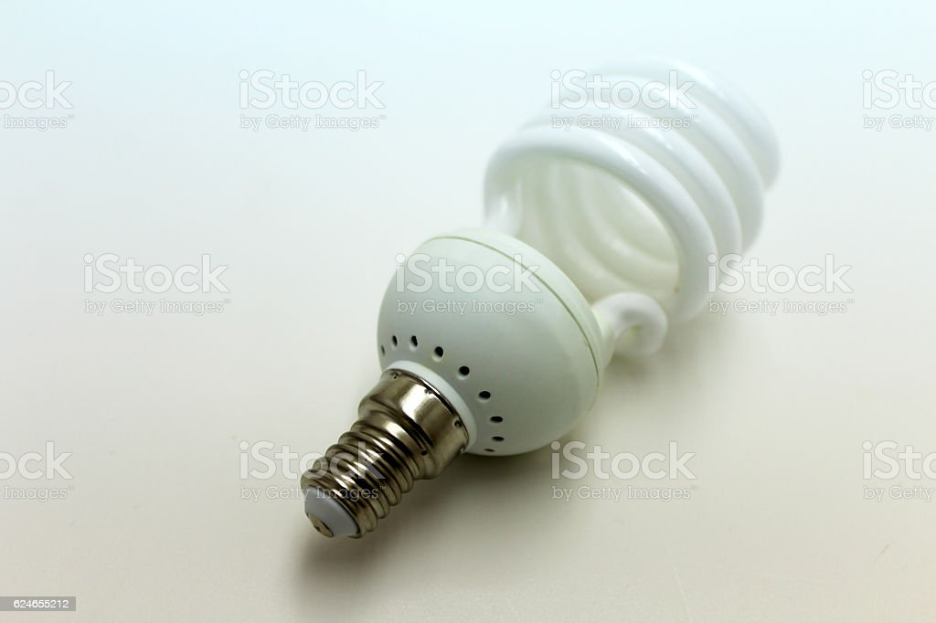 White energy saving light bulb stock photo