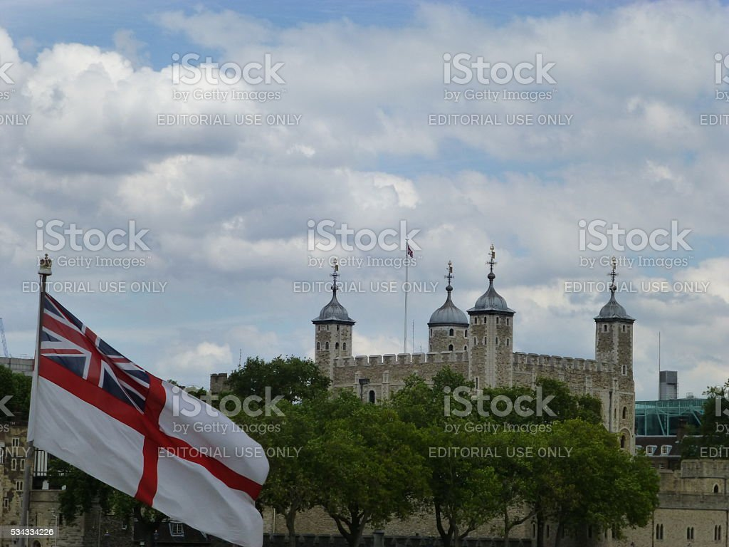 White Ensign with Tower of London stock photo