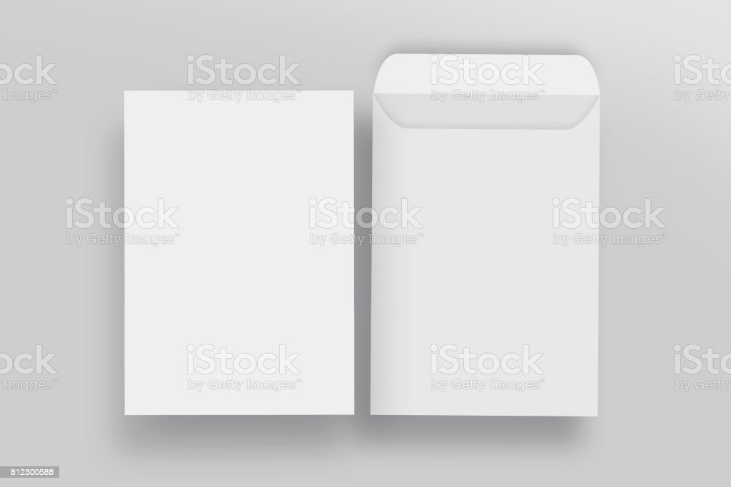 White envelope C4 mock-up, isolated background stock photo
