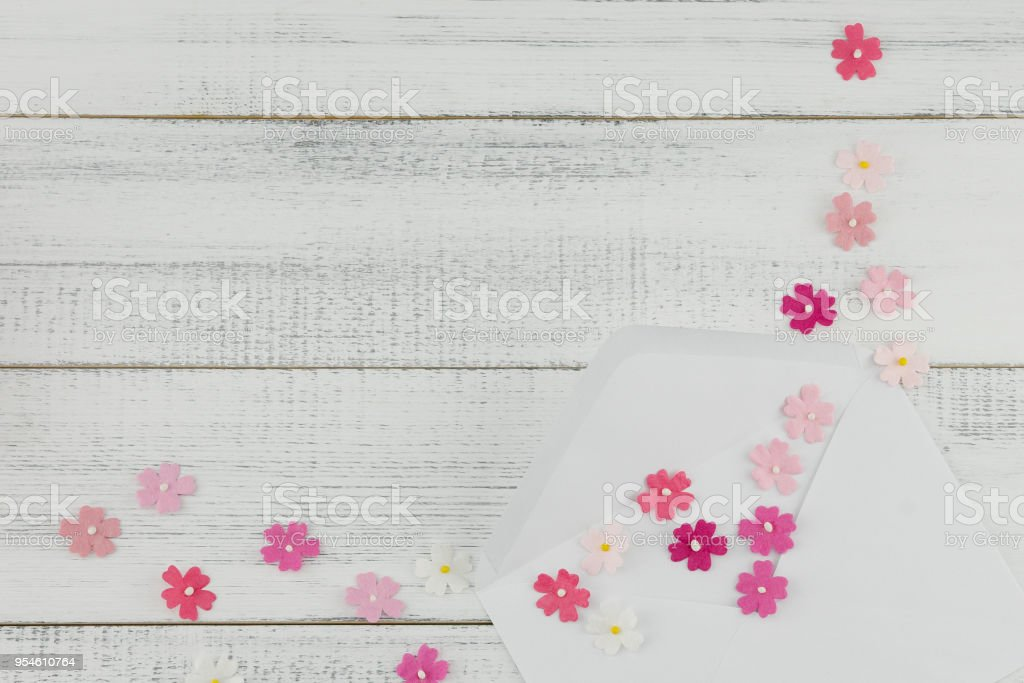 99de7f47d2c White Envelope Decorate With Pink Paper Flowers Stock Photo   More ...