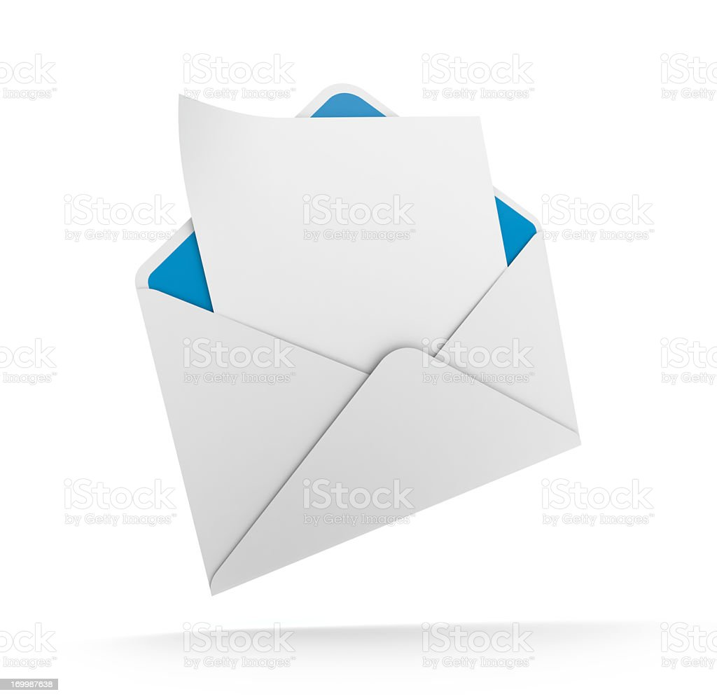 A white envelope icon with a note inside stock photo