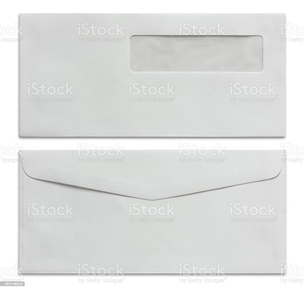 White envelope isolated on white stock photo