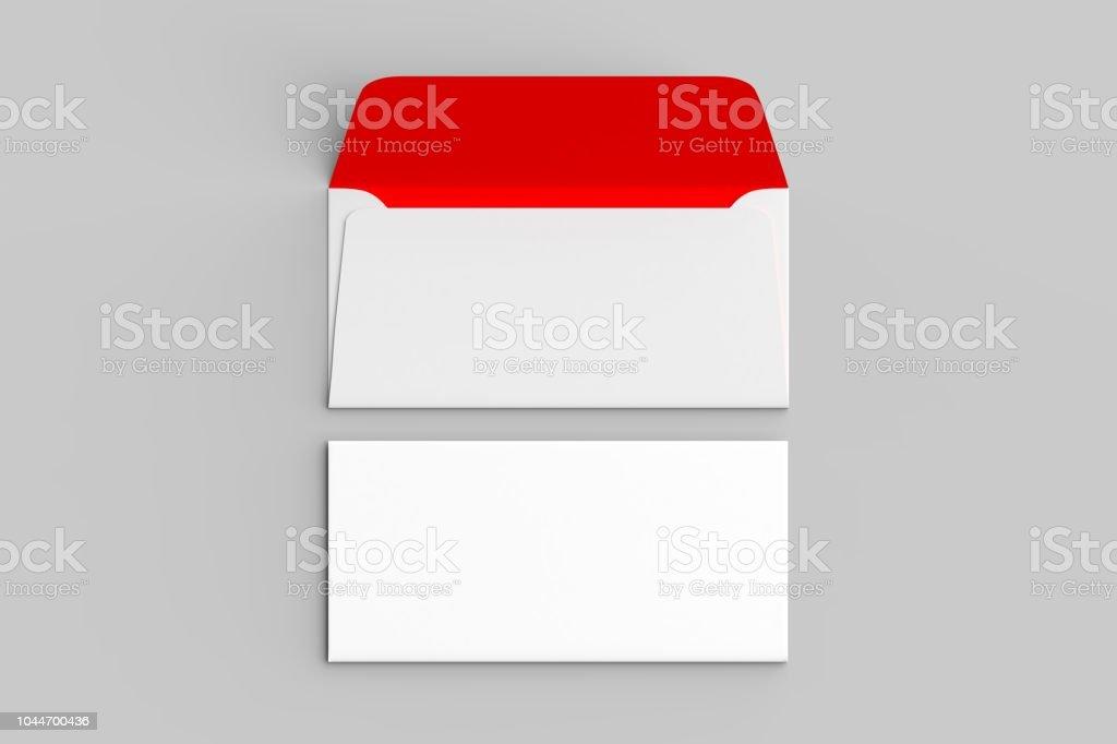 Beyaz zarf üzerinde izole yumuşak gri backgorund kadar sahte. 3D çizim. stok fotoğrafı