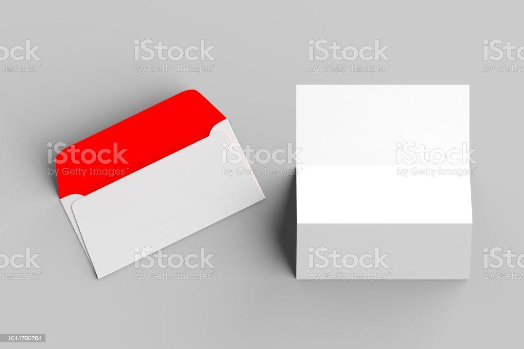 Beyaz zarf üzerinde yumuşak gri backgorund izole üç kat kağıt ile sahte. 3D çizim. stok fotoğrafı