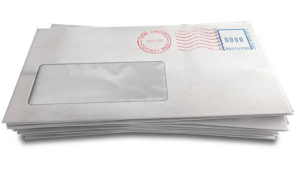 White Envelope Stack stock photo