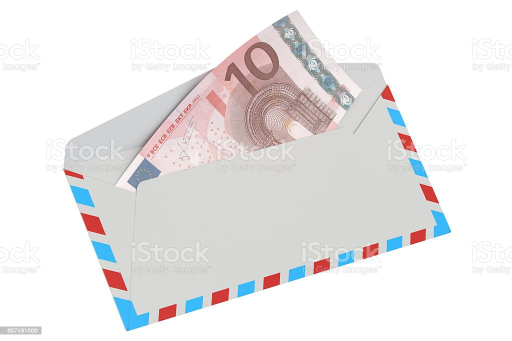 white envelope with 10 euro, 3D rendering stock photo