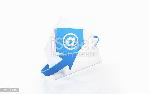 White envelope with at symbol on white background. Horizontal composition with copy space.