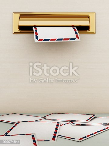 istock White enveloppe being delivered through the mail slot 999074544