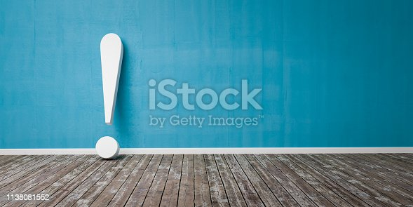 istock White exclamation mark on wooden floor and concrete wall 3D Illustration Warning Concept 1138081552