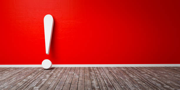 White exclamation mark on wooden floor and concrete wall 3D Illustration Warning Concept Red exclamation mark on wooden floor and concrete wall 3D Illustration Warning Concept mistake stock pictures, royalty-free photos & images
