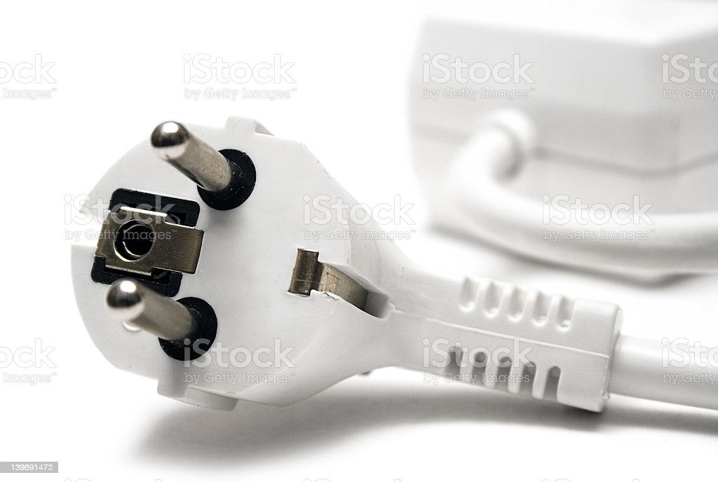 White Extension Plug royalty-free stock photo