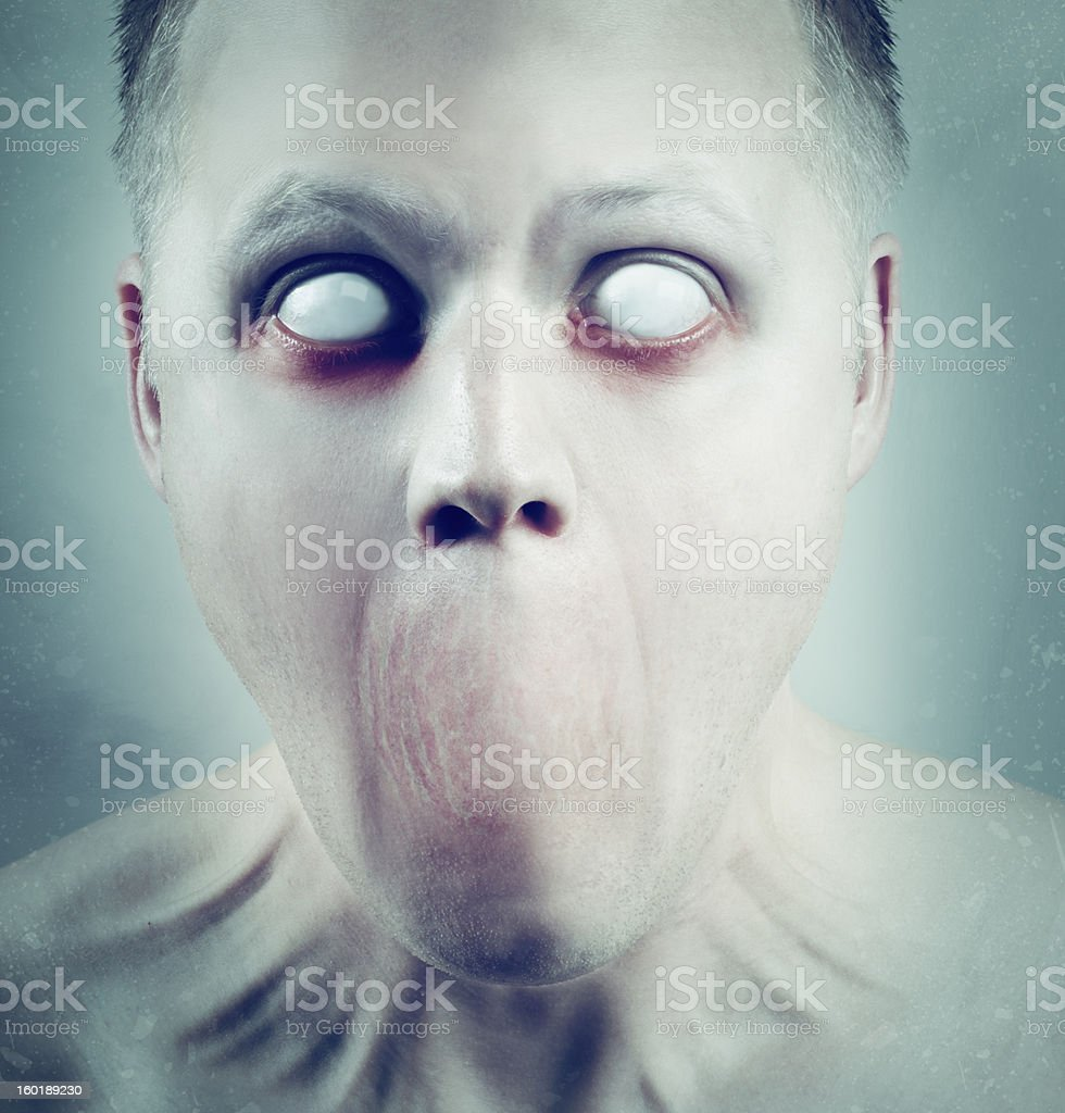 White Eyed Psychedelic Face stock photo