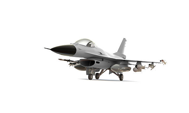 white F-16 isolated on A model of an F-16 isolated on white f 16 fighting falcon stock pictures, royalty-free photos & images