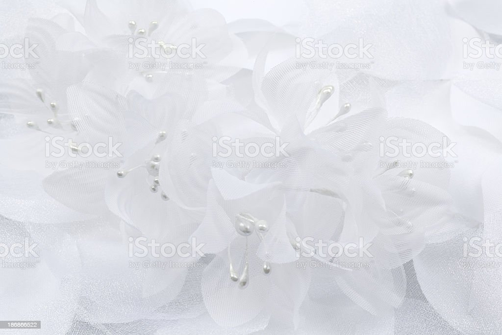 White Fabric And Pearl Flowers, Wedding Background, Close-up stock photo