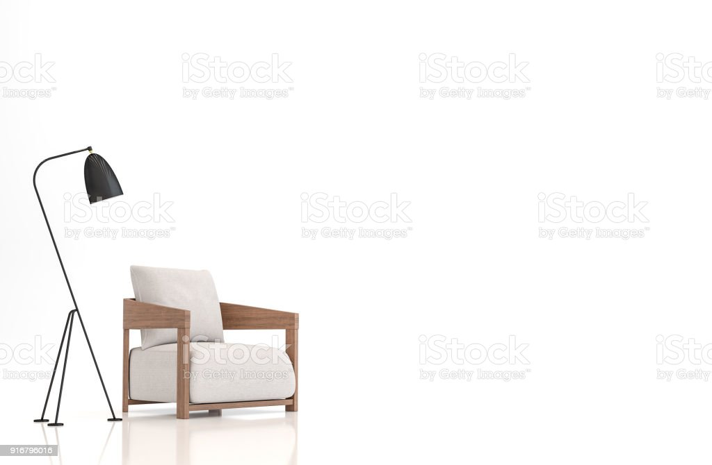 White fabric armchair on white background 3d rendering image stock photo