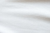 White fabric close up shot of Cotton and polyester Polo shirt. Casual wear over the weekend or summer time season. Background texture concept with copy space for text.